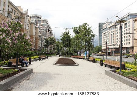 Russia, Moscow 22 May 2016, Small Square on the New Arbat Street