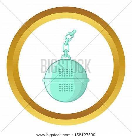 Steel strainer vector icon in golden circle, cartoon style isolated on white background
