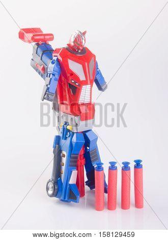 Toy Gun Or Toy Dart Gun On Background.