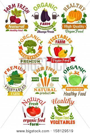 Farm fresh vegetable badge set. Pepper, tomato, carrot, cabbage, eggplant, broccoli, pumpkin, beet, cucumber, green pea and garlic vegetable symbol with ribbon banner for farm market design