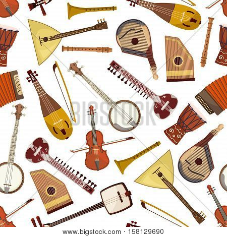 Ethnic musical instrument seamless pattern with lute and drum, violin, lyre, mandolin and banjo, sitar, wooden flute and psaltery, balalaika, accordion and rebec. Folk music themes design