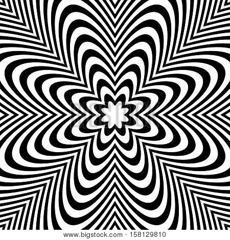 Concentric Lines With Distortion. Radial Lines, Radiating Pattern With Deformation Effect