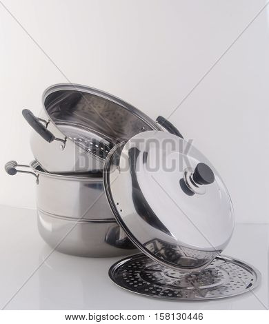 Pan Or Steamer Pan On A Background.