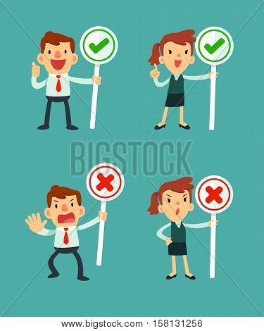 set of businessman and women holding sign check symbol and cross symbol
