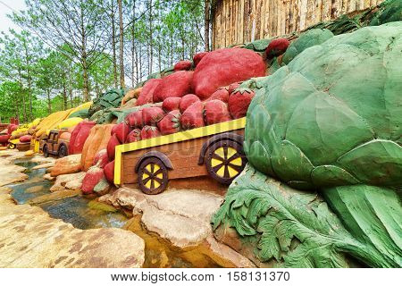 Colorful Clay Sculptures Of Fruits And Vegetables, Dalat