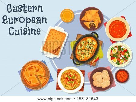 Eastern european cuisine icon with potato dumpling with meat gravy, vegetable egg salad, boiled potato, omelette with bell pepper, fried meat pie, tomato soup, vegetable pie, apple cinnamon pie