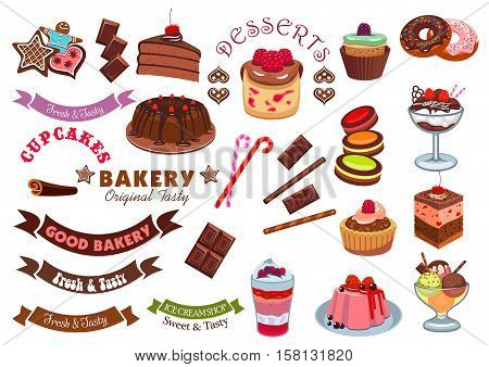 Pastry dessert badge design element. Cake, cupcake, donut, ice cream, gingerbread, cookie, muffin with chocolate, cream, fruit, candy and ribbon banner. Pastry shop and cafe emblem design