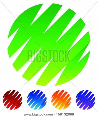 Zigzag, Crisscross Lines Forming Circle Shapes. Green, Red, Blue, Yellow, Purple Circle Shapes