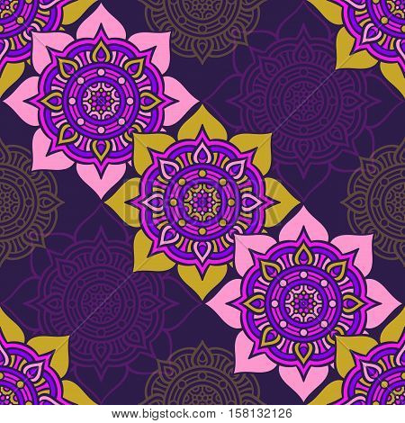 Ethnic floral seamless pattern. Abstract ornamental pattern