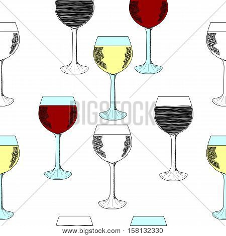 Sketch set of wineglasses. Red wine, white wine. Isolated on white background. Hand drawn illustration, seamless pattern