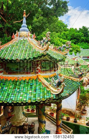 Scenic Tile Roofs With Mosaic Sculptures At The Linh Ung Pagoda