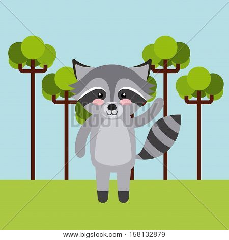 cute racoon animal over landscape background. colorful design. vector illustration