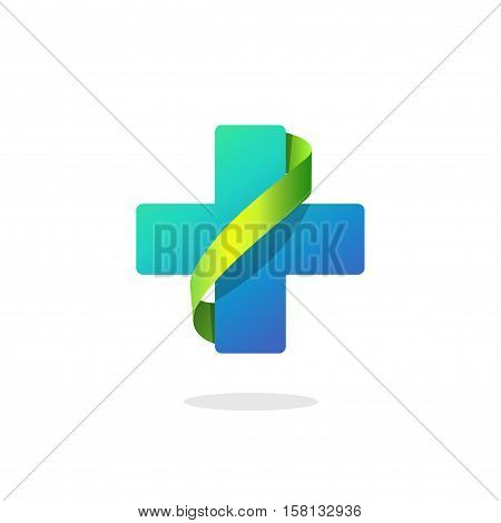 Blue medical cross vector logo isolated on white background, pharmacy symbol with green ribbon, creative clinic color sign, modern flat style brand element design