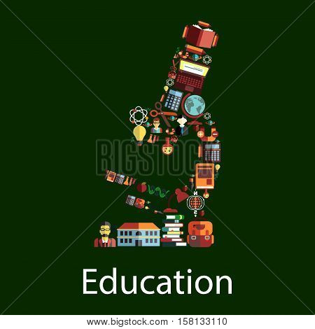 Microscope symbol with education icons. School and book, pencil, globe, student, computer, calculator and backpack, apple and flask, scissors and atom, DNA, light bulb and teacher