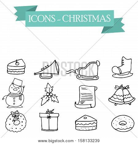 Vector art of holiday icons collection stock illustration