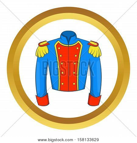 French historical uniform of soldier vector icon in golden circle, cartoon style isolated on white background