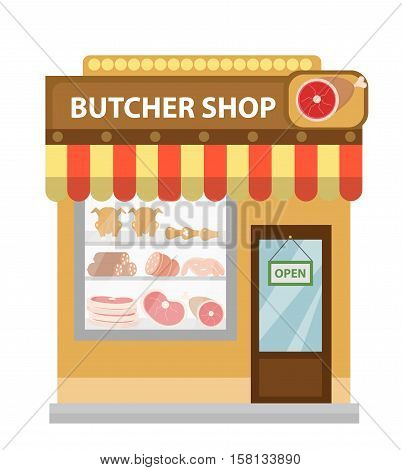 Butcher shop, meat showcase, icon flat style. Meat store isolated on white background. Meat and sausage shop building. Vector illustration.