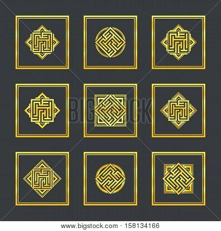 Abstract gold maze, maze emblem, gold pattern