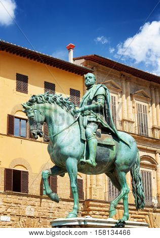 Statue Of Cosimo I Medici On The Piazza Della Signoria, Florence