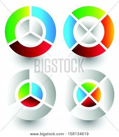 Pie Chart, Pie Graph Icons. Analytics, Diagnostics, Infographic Icons. Colorful Segmented Circle Ele
