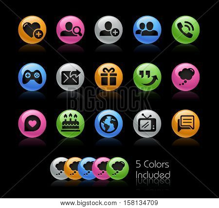 Social Communications Icons / The file Includes 5 color versions in different layers.