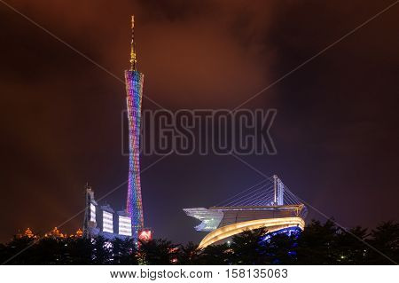 Night View Of The Canton Tower. Guangzhou, China