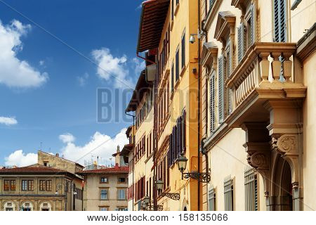 Facades Of Medieval Houses On The Piazza Santa Croce. Florence