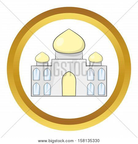 Taj Mahal, India vector icon in golden circle, cartoon style isolated on white background