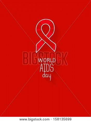 World AIDS Day, 1st December, vector poster template. Red ribbon, hand drawn design element