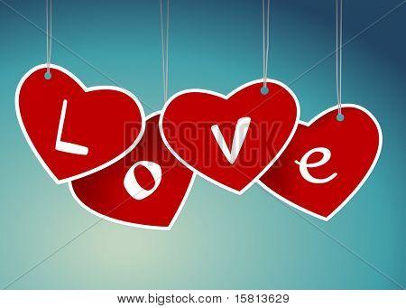 Valentine hanging labels. Vector art