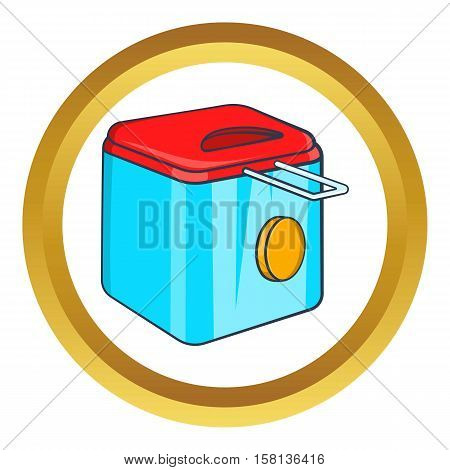Fryer vector icon in golden circle, cartoon style isolated on white background