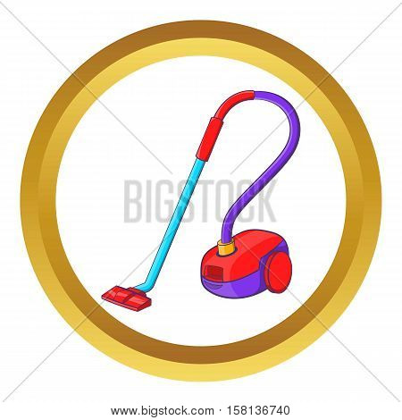Vacuum cleaner vector icon in golden circle, cartoon style isolated on white background