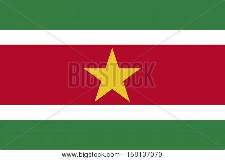 Official vector flag of Suriname . Republic of Suriname .