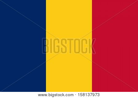 Official vector flag of Republic of Chad .