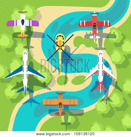 Top view planes and helicopters above landscape vector illustration. Air transport plane and helicopter view