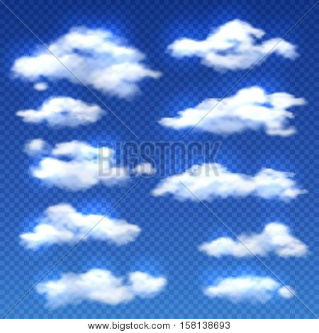 Realistic vector clouds isolated on checkered background. Set of clouds in blue sky, weather with white clouds illustration
