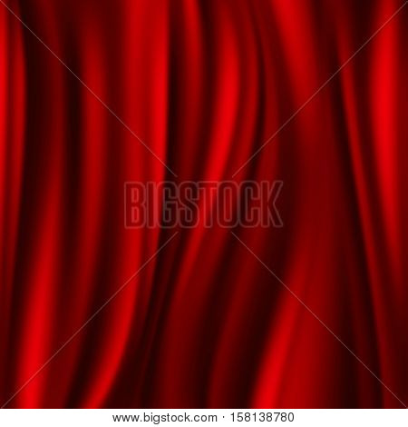 Red silk, satin flowing textile, wavy abstact vector background. Satin smooth textile, illustration red satin material illustration
