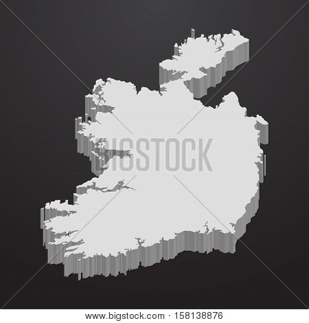 Ireland map in gray on a black background 3d