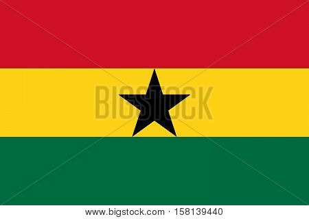 Official vector flag of Ghana . Republic of Ghana .