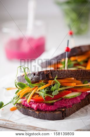 gluten free vegan sandwiches with beet hummus, raw vegetables and sprouts