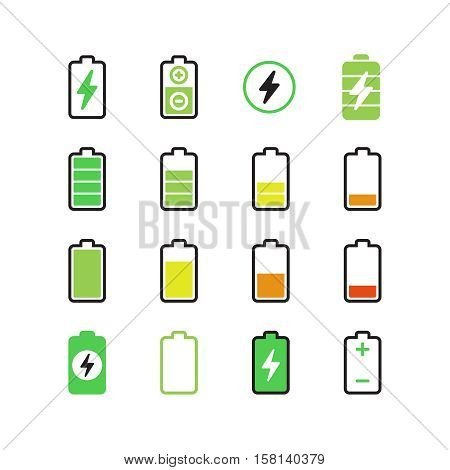 Cell phone, smartphone electric charge, battery energy vector icons. Indicator accumulator battery for phone, electric level charge of phone illustration