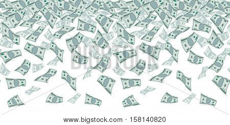 Falling dollar sign, money rain. Seamless pattern for finance concept. Vector rain of money, illustration of jackpot money