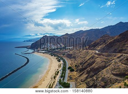 The view from the observation deck on the beach Las Teresitas Tenerife