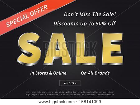 Advertising poster Sale Special Offer vector illustration. Creative banner Sale Special Offer Discounts Up To 50 percent Off layout for m-commerce mobile promotions