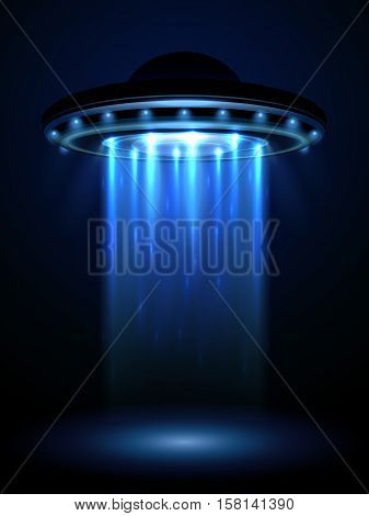 Aliens ufo, interstellar spaceship vector illustration. Ufo in form plate or saucer, interstellar spaceship ufo