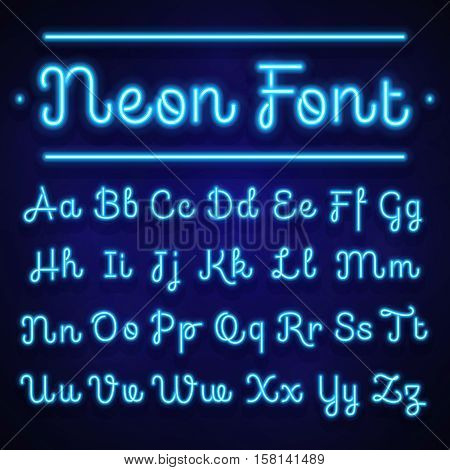 Glowing neon calligraphic letters on dark. Vector alphabet signs. Neon alphabet handwritten font, illustration of light alphabet glow