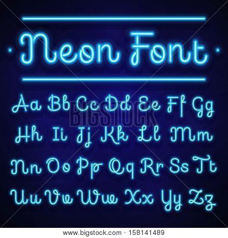 Glowing neon calligraphic letters on dark. Vector alphabet signs. Neon alphabet handwritten font, illustration of light alphabet glow