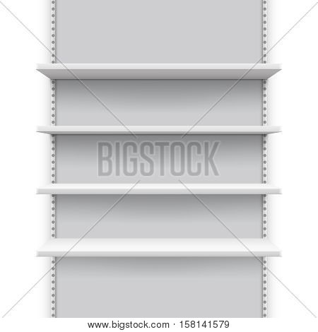 Empty market retail stand with shelves for products, store display vector mockup. Shelf showcase mock up for shop, mockup shelf for store and supermarket illustration