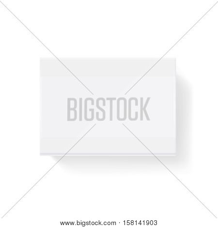 White blank closed matchbook, match box vector illustration. Matchbox sliding mock up, small matchbook packet