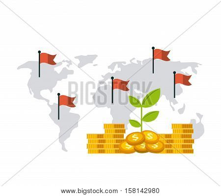 green plant and gold money coins over world map with red flags background. growth funds economy concept. colorful design. vector illustration